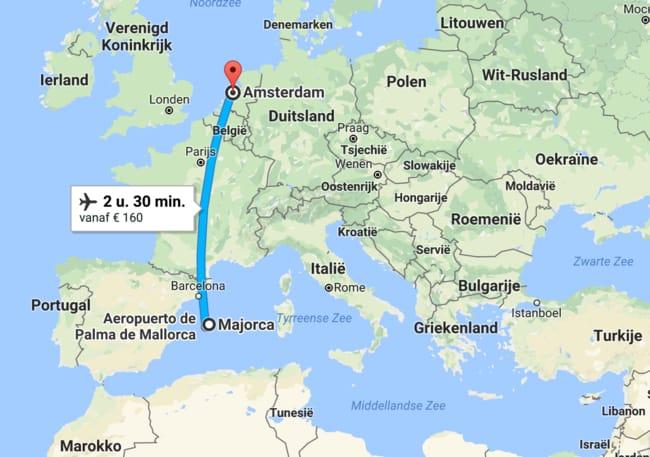 waar ligt mallorca? bekijk het op deze kaart